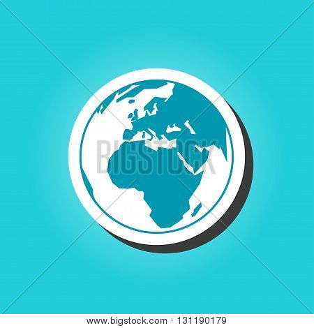 Planet Earth Isolated. Vector globe icon with map of the continents of the world. Modern flat icon.