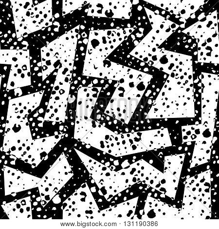 Retro Grunge Seamless Pattern In Black And White