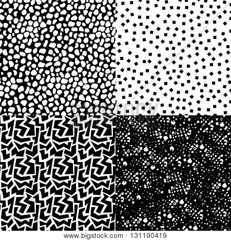 Set Of Retro Seamless Pattern In Black And White