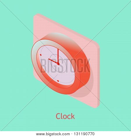 Wall Clock colorfull isometric vector illustration. For room design