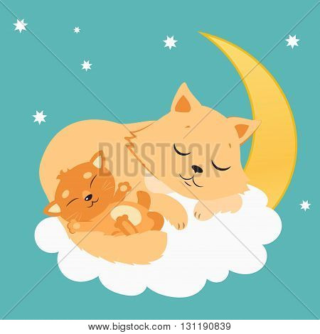 Cute Cat And Kitten Sleeping On The Moon. Sweet Kitty Cartoon Vector Card. Sleeping Cats Dreaming.