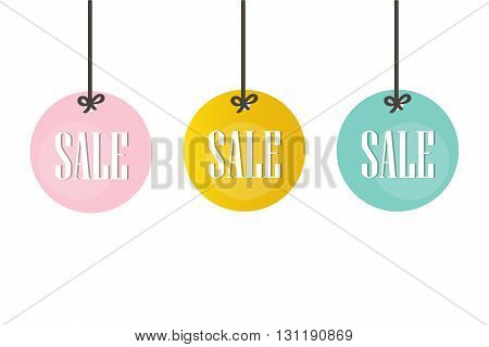 Cute colorful sale price tags, labels isolated on white background. Christmas sale tags, labels.