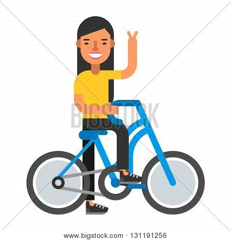 Happpy woman with bicycle. Coloured flat vector illustration isolated on white background