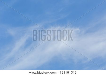 Blue Sky With Bright Cirrus Clouds