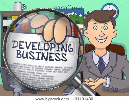 Business Man in Suit Showing Paper with Developing Business Concept through Magnifier. Closeup View. Multicolor Doodle Illustration.