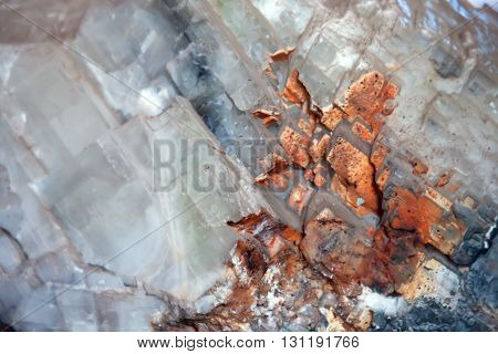 Calcite mineral background. Structure of a translucent stone
