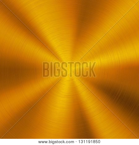 Gold abstract technology background with polished, brushed circular metal texture, chrome, silver, steel, aluminum for design concepts, web, posters and prints. Vector illustration.