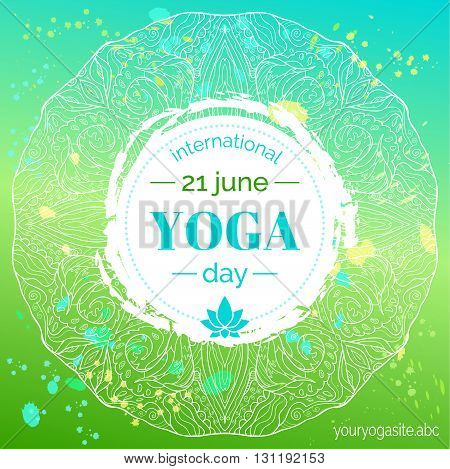 Vector yoga illustration. Template of poster for International Yoga Day. Flyer for 21 june Yoga day. Lotus contour on ethnic pattern backdrop. Flat design. Linear illustration on gradient background.