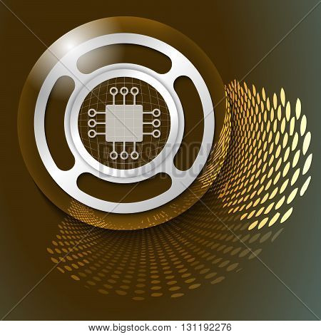 Vector abstract background and silver object with chip icon