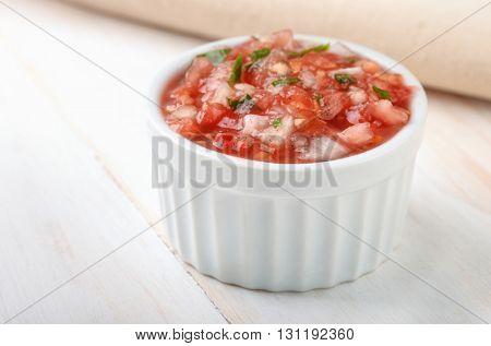Ramekin with salsa fresca sauce