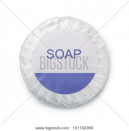 Pleated wrapped round soap isolated on white