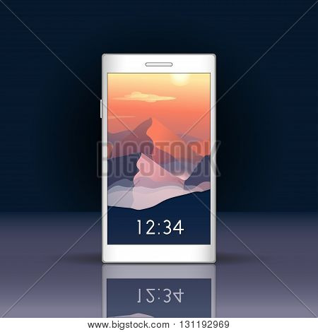 Vector illustration. Smartphone screen with mountains landscape. Smartphone mockup with login screen in trendy flat style. Vertical format for mobile phone screen. Natural vector background.