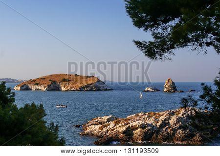 Summer seascape.Gargano coast: bay of Vieste.-(Apulia) ITALY-Portonuovo  beach is a succession of fine sand dunes