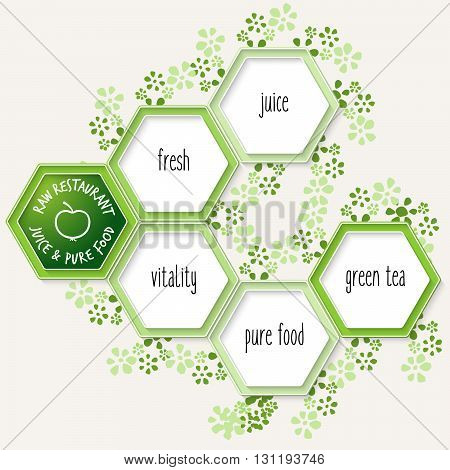 Vector hexagons for your text and raw restaurant icon