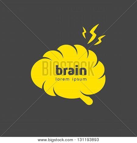Creative brain logo template. Brainstorm icon. Vector illustration