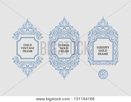 Arabic vector set of frames and lines of art design template. Muslim outline elements and emblems. Eastern floral frame. Logos line pattern for menu, postcard, restaurant, wedding invitation