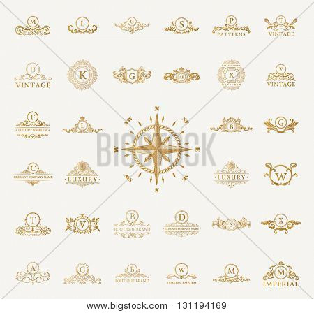 Luxury vintage logo set. Calligraphic emblems and elements elegant decor. Vector ornament for menu card, invitations, labels, Restaurant, Cafe, Hotel and letter