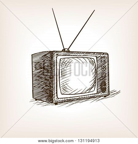 TV set sketch style vector illustration. Old hand drawn engraving imitation.