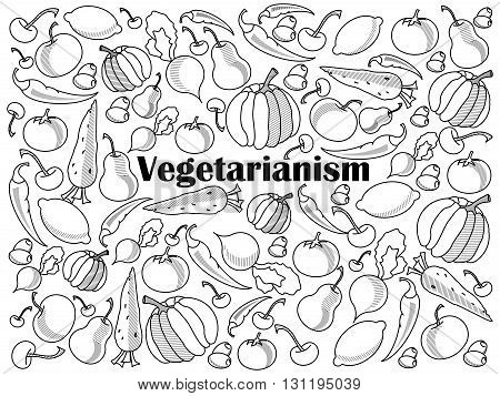 Vegetarianism design colorless set vector illustration. Coloring book. Black and white line art