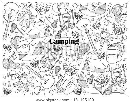 Camping design colorless set vector illustration. Coloring book. Black and white line art