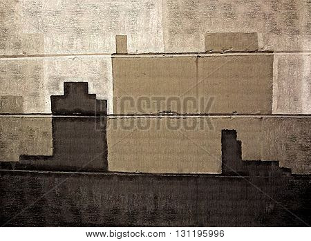 Abstract Gray Buildings Painted on Cinder Blocks