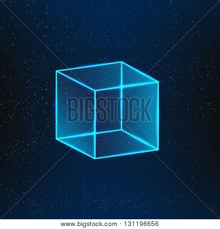 Blue glass cube. Geometric object 3d vector cube.