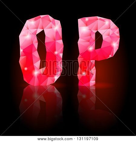 Shiny ruby polygonal font with reflection on black background. Crystal style O and P letters