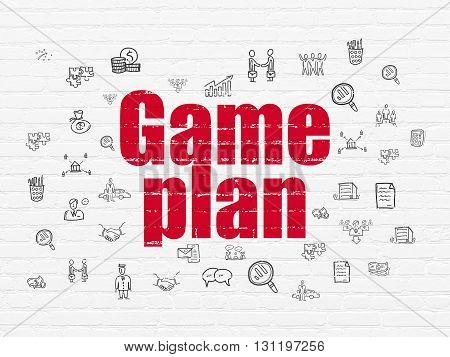 Finance concept: Painted red text Game Plan on White Brick wall background with  Hand Drawn Business Icons