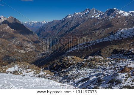 Amazing panorama from matterhorn glacier paradise to Zermatt, Alps, Switzerland