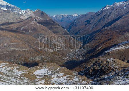 Panoramic view from matterhorn glacier paradise to Zermatt, Alps, Switzerland
