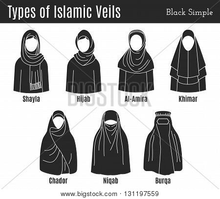 Muslim female headgear. Muslim female headgear set. Muslim female headgear vector. Muslim female headgear isolated. Muslim female headgear flat. Muslim female headgear  black. Muslim female headgear.