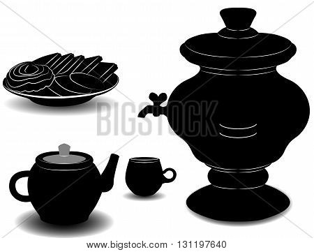 The tea party. The samovar a Cup a teapot and a plate of cookies