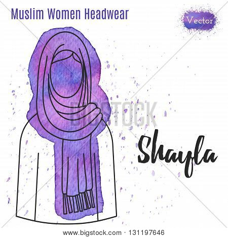 Arabic woman headwear. Shayla in outline style on abstract watercolor blot with splashes. Muslim traditional female headgear isolated on a white background. Muslim woman in hijab. Vector illustration