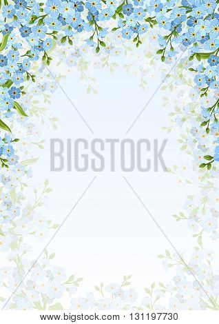 Vector background frame with blue forget-me-not flowers.