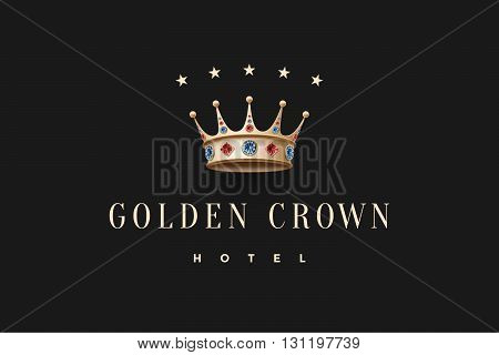 Logo with gold king crown, diamond, five stars and inscription Golden Crown Hotel on a dark black background. Vector Illustration