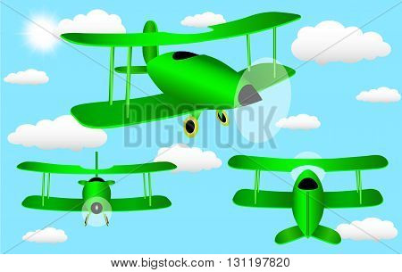 Cartoon plane with three sides in the sky with clouds