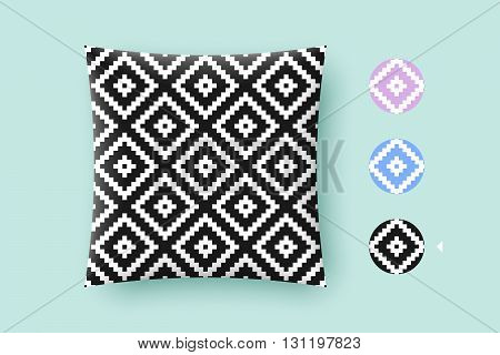 Seamless modern stylish texture and graphic pattern. Black repeating absract geometric tiles with dotted rhombus on a white background. For print on pillow in printshop. Vector Illustration