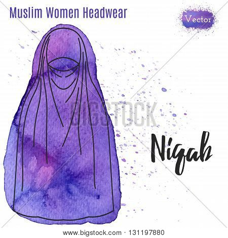 Arabic woman head wear Niqab in outline style on abstract watercolor blot with splashes. Muslim traditional female headgear isolated on a white background. Islamic woman in Niqab. Vector illustration