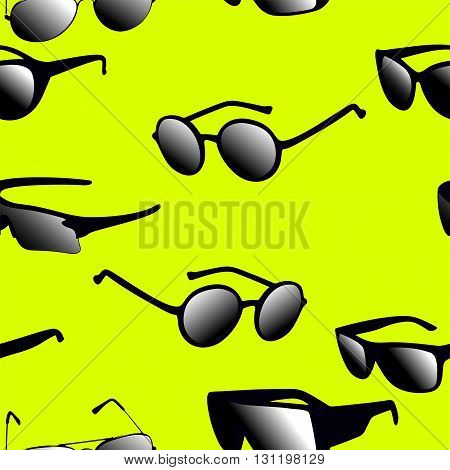 Seamless pattern on yellow background made of silhouettes of glasses