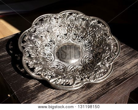 General view of dining Silver decorative dish with ornament