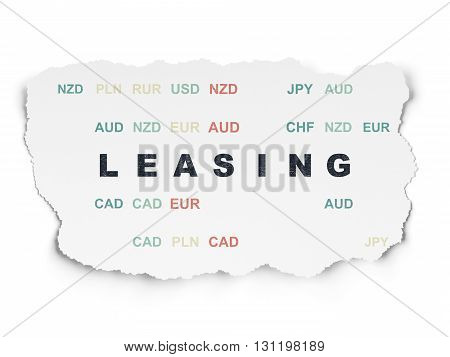 Finance concept: Painted black text Leasing on Torn Paper background with  Currency