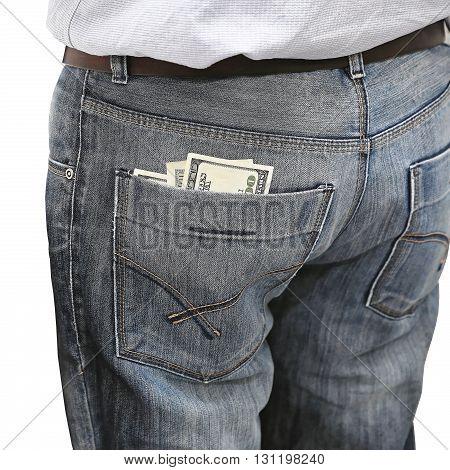 Dollars bills in Man Denim Back Pocket