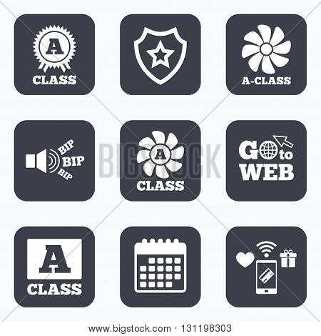Mobile payments, wifi and calendar icons. A-class award icon. A-class ventilation sign. Premium level symbols. Go to web symbol.