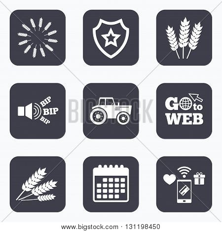 Mobile payments, wifi and calendar icons. Agricultural icons. Wheat corn or Gluten free signs symbols. Tractor machinery. Go to web symbol.