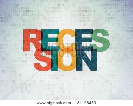 Finance concept: Painted multicolor text Recession on Digital Data Paper background