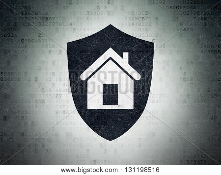 Finance concept: Painted black Shield icon on Digital Data Paper background