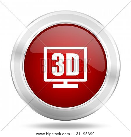3d display icon, red round metallic glossy button, web and mobile app design illustration