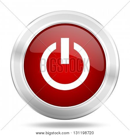 power icon, red round metallic glossy button, web and mobile app design illustration