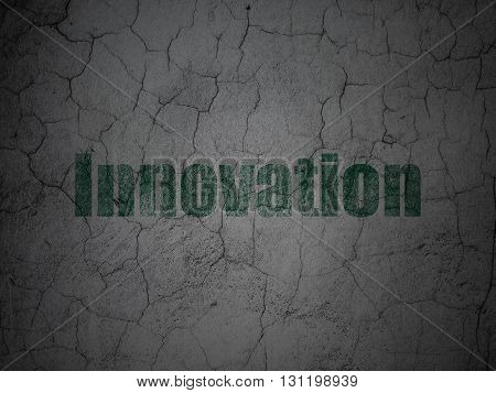 Finance concept: Green Innovation on grunge textured concrete wall background