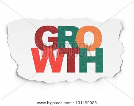 Finance concept: Painted multicolor text Growth on Torn Paper background